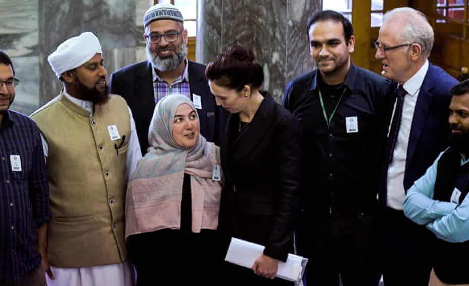 Jacinda Ardern meeting Muslim community leaders following the Christchurch attack, at Parliament House in Wellington, 19 March.