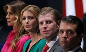 Members of Donald Trump's family: Melania Trump, Ivanka Trump, Eric Trump and Donald Trump Jr.