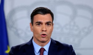 Pedro Sánchez speaks during a news conference