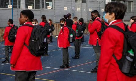 Pupils returning to school in London last week