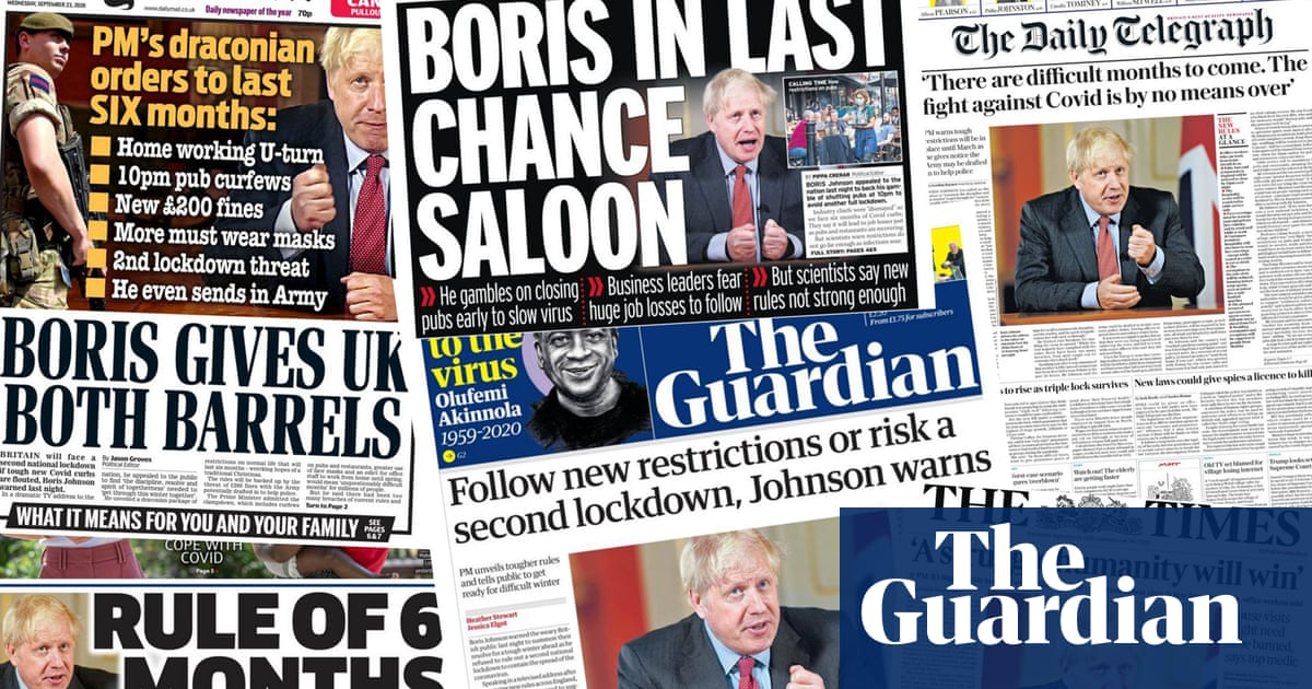 Boris gives UK both barrels: how UK papers covered Johnsons Covid speech