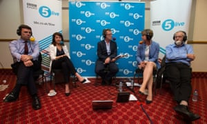 Andy Burnham, Liz Kendall, Yvette Cooper and Jeremy Corbyn take part in a radio hustings hosted by Nicky Campbell for BBC Radio 5 Live.
