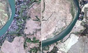 The village of Myar Zin in Rakhine state, Myanmar, in December last year and again in February.