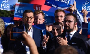 Poland's prime minister, Mateusz Morawiecki, at a PiS campaign event