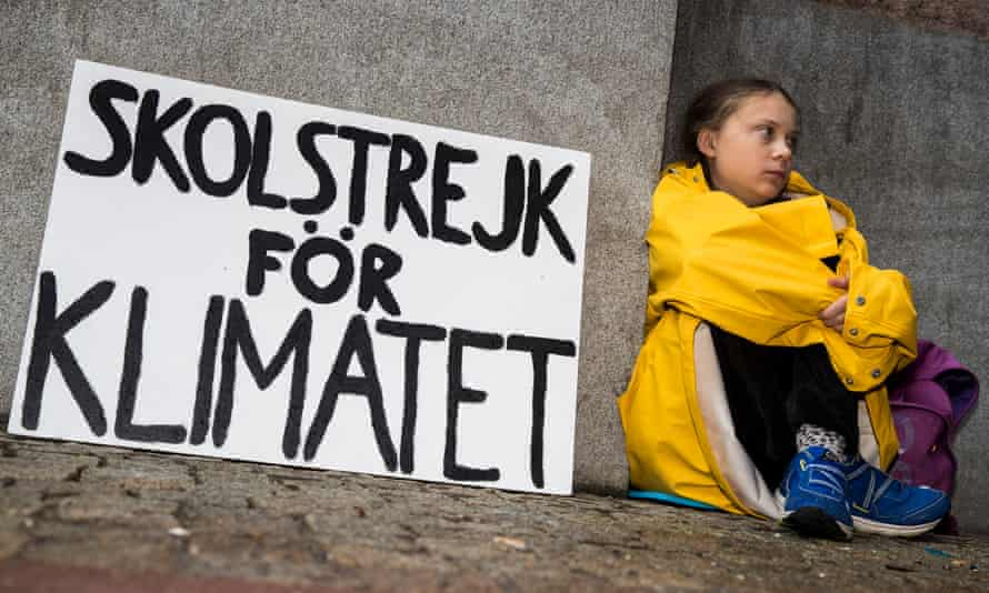 Greta Thunberg leads a school strike and sits outside of the Swedish Parliament, in an effort to force politicians to act on climate change.