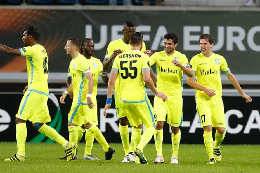 Gent's Kenneth Saief celebrates with his teammates after scoring during against Turkish club Atiker Konyaspor in the Europa League group stage.