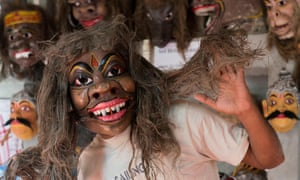 A mask-maker's shop on the island of Majuli, where some fear witch-hunting is on the rise.