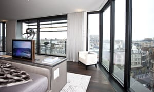 Master bedroom of luxury flat in One Hyde Park complex, London.