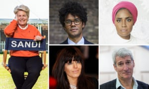Who will it be? ... clockwise from left: Sandi Toksvig, Richard Ayoade, Nadiya Hussain, Jeremy Paxman and Claudia Winkleman.