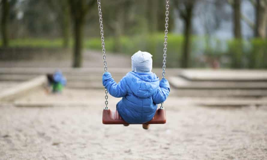 A toddler in a Hamburg playground