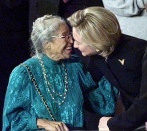 Rosa Parks and Hillary Clinton embrace at Bill Clinton's State of the Union address in 1999.