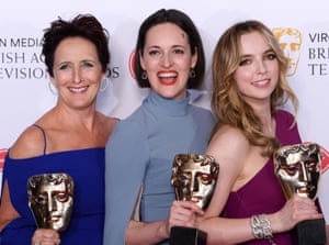 Leading lights: (from left) Fiona Shaw, Phoebe Waller-Bridge and Jodie Comer with their Baftas.