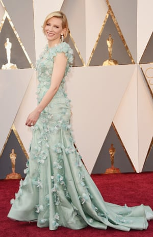 Cate Blanchett is A Serious Actor and so it's a bit of a surprise she's gone a bit off script here: this Armani meets a turquoise Big Bird is a winner.