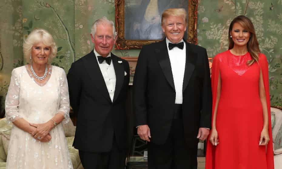 The Prince of Wales and Duchess of Cornwall with Donald Trump and his wife Melania at Winfield House, the US ambassador's residence in London