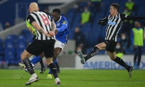 Brighton & Hove Albion's Danny Welbeck scores their second goal.