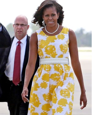 Michelle Obama arrives at Orlando international airport, 10 August 2013.