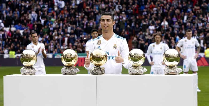 Cristiano Ronaldo after receiving his fifth Golden Ball.