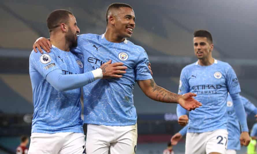 Manchester City's Gabriel Jesus (centre) celebrates scoring his first goal of the game against Wolves.