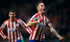 Saúl Ñíguez celebrates after his early goal for Atlético Madrid.