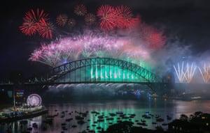 The midnight fireworks display at Sydney Harbour, Australia