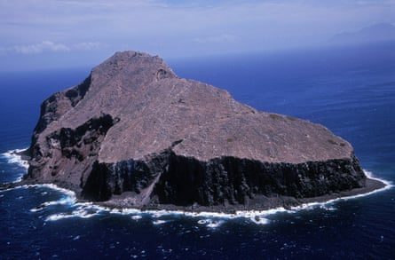 Redonda from the air. The island, once forested, now looks like a lunar landscape.