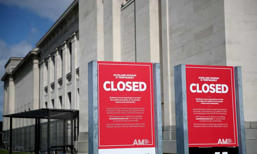 Closed notices relating to the Covid-19 virus are seen outside the entrance to the Auckland War Memorial