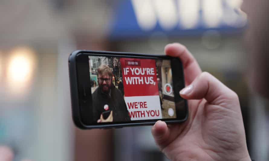 People's Vote campaigners record a social media message.