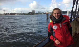 Adélaïde Charlier on board the Regina Maris, which is sailing from Amsterdam to Rio. The young campaigners say they are determined to continue their journey.