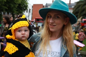 A woman and child at the Extinction Rebellion protest.