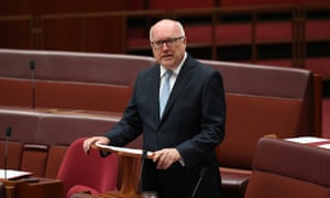 Senator George Brandis gives his valedictory speech in the Senate chamber of Parliament House, Canberra this evening, Wednesday 7th February 2018.