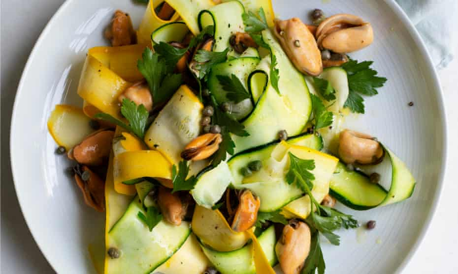 'A casual lunch': mussels, courgettes and parsley.