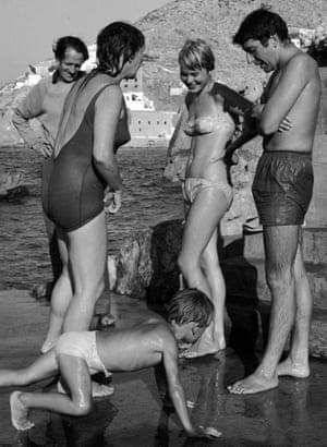 Disenchanted isle (from left) George Johnston, Charmian Clift, Jason Johnston, Marianne Ihlen and Leonard Cohen, Hydra, 1960.