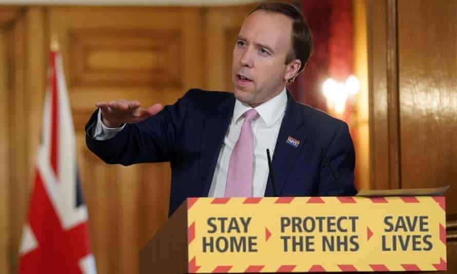 Matt Hancock giving one of Downing Street's daily coronavirus press briefings.