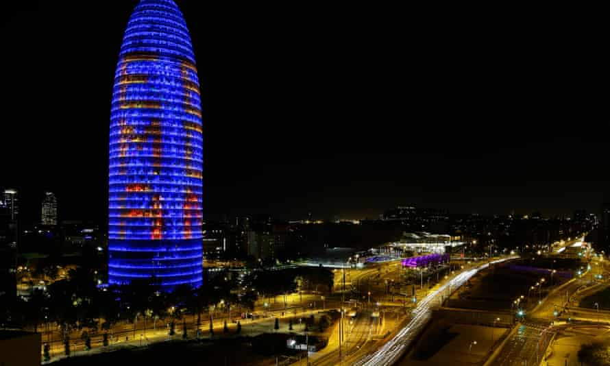 """The Agbar tower in Barcelona is illuminated with """"EMA BCN"""""""