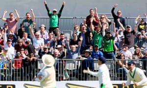 Ireland fans in the crowd celebrate the fall of Pakistan's fourth wicket, that of Babar Azam.