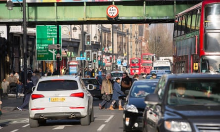 Brixton road, one of London's most polluted streets.