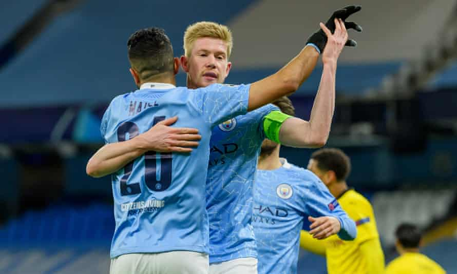 Kevin De Bruyne celebrates scoring City's first goal in the first half.