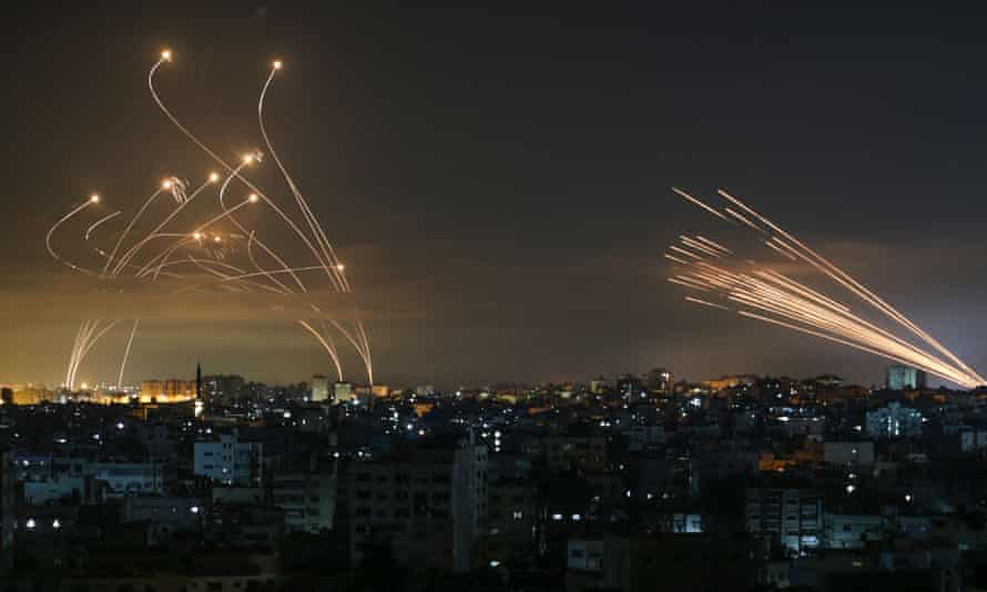 Missiles in night sky