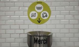 A Covid-19 waste bin in the Paris Metro.