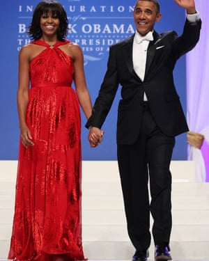Michelle and Barack Obama at the Commander-in-Chief Ball, Washington, DC, 21 January 2013.