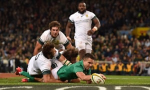 Conor Murray scores Ireland's second try of a famous win over South Africa at Newlands in Cape Town.