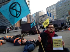 Extinction Rebellion activists outside the European commission building in Brussels, Belgium on 15 April 2019