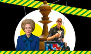 clockwise from left: Gillian Anderson as Maggie Thatcher; Chess; Stanley Tucci; John King.