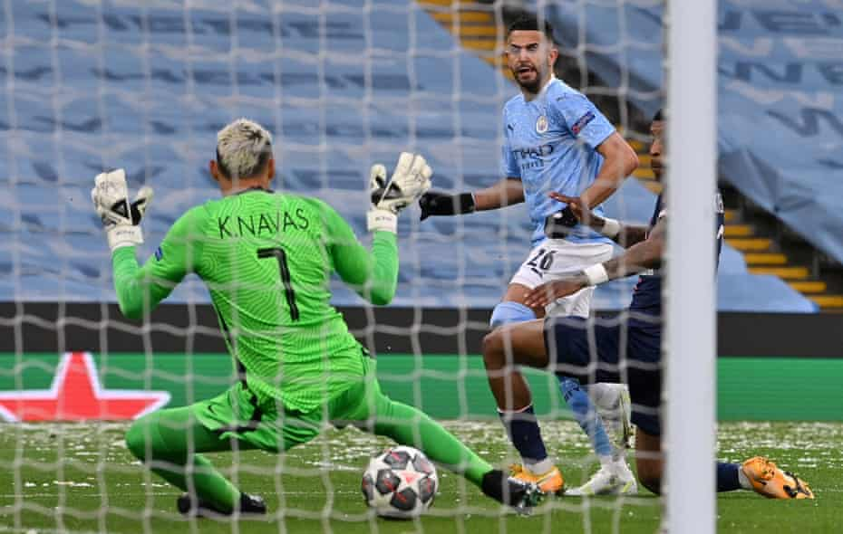 Riyad Mahrez scores one of his three goals in Manchester City's Champions League semi-final against Paris St-Germain.