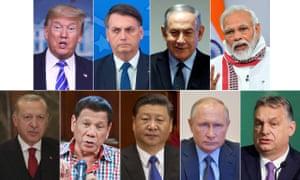 Leaders who have performed badly. Top Row: Donald Trump, Jair Bolsonaro, Benjamin Netanyahu and Narendra Modi. Bottom Row: Recep Tayyip Erdoğan, Rodrigo Duterte, Xi Jinping, Vladimir Putin, Viktor Orbán.