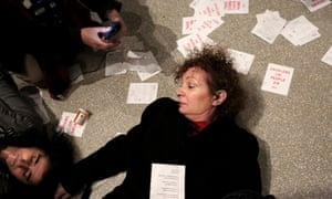 Artist Nan Goldin at her 'die-in' at the Guggenheim in February. Goldin decided to speak out against the Sacklers following her own near-fatal addiction to opioids after being prescribed OxyContin.