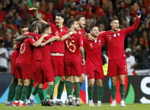 Portugal players celebrate after defeating the Netherlands.