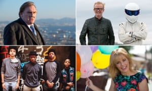 Must-sees … clockwise from top left, Gérard Depardieu, Top Gear, Maria Bamford and The Get Down