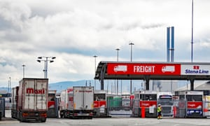 Lorries passing through freight checks at Dublin port