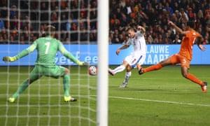 Pavel Kaderabek of the Czech Republic scores the opener, firing past Netherlands' goalkeeper Jeroen Zoet.